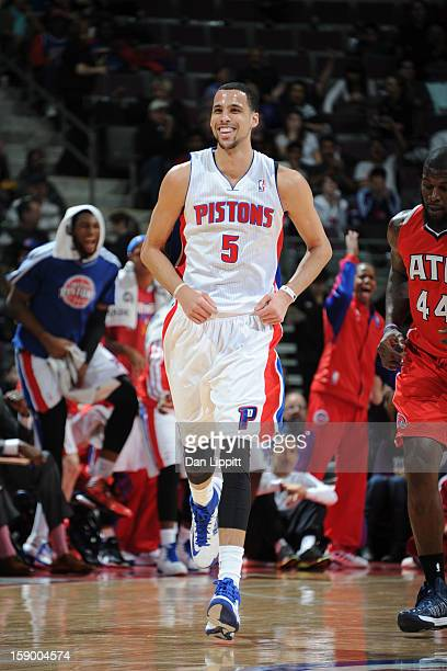 Austin Daye of the Detroit Pistons smiles during the game against the Atlanta Hawks on January 4 2013 at The Palace of Auburn Hills in Auburn Hills...