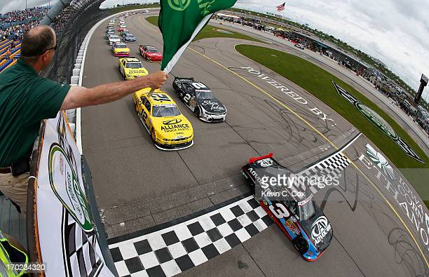 Austin Dillon driver of the AdvoCare Chevrolet takes the green flag to start the NASCAR Nationwide Series DuPont Pioneer 250 at Iowa Speedway on June...