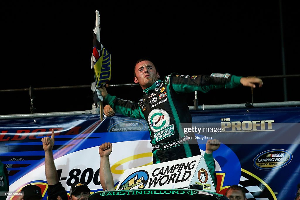 Austin Dillon, driver of the #39 American Ethanol Chevrolet, celebrates after winning the NASCAR Camping World Truck Series inaugural CarCash Mudsummer Classic at Eldora Speedway on July 24, 2013 in Rossburg, Ohio.