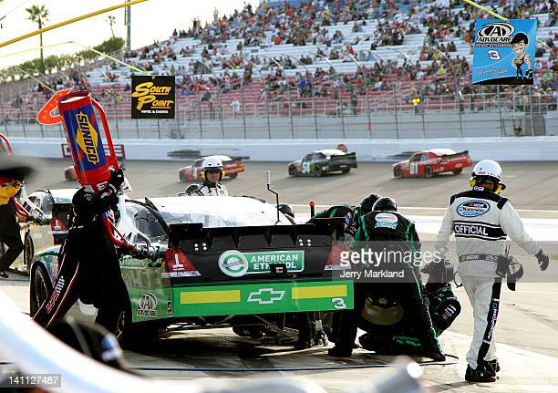 Austin Dillon driver of the American Ethanol Chevrolet pits during the NASCAR Nationwide Series Sam's Town 300 at Las Vegas Motor Speedway on March...
