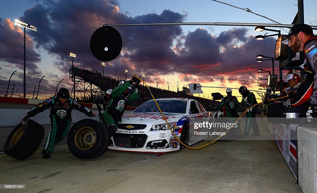 Austin Dillon, driver of the #3 American Ethanol Chevrolet, pits during the NASCAR Sprint Cup Series Bojangles' Southern 500 at Darlington Raceway on September 4, 2016 in Darlington, South Carolina.