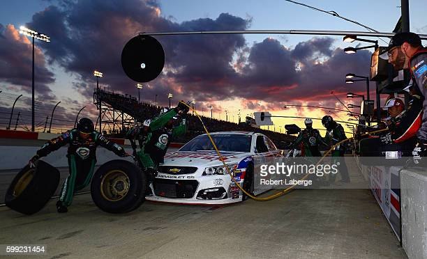 Austin Dillon driver of the American Ethanol Chevrolet pits during the NASCAR Sprint Cup Series Bojangles' Southern 500 at Darlington Raceway on...