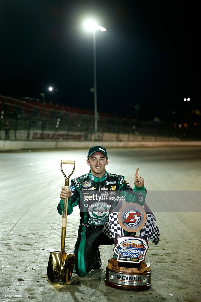 Austin Dillon, driver of the #39 American Ethanol Chevrolet, poses for a photo after winning the NASCAR Camping World Truck Series inaugural CarCash Mudsummer Classic at Eldora Speedway on July 24, 2013 in Rossburg, Ohio.