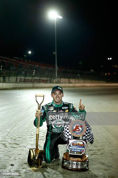 Austin Dillon, driver of the American Ethanol Chevrolet, poses for a photo after winning the NASCAR Camping World Truck Series inaugural CarCash...