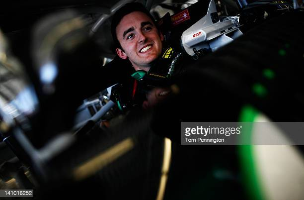 Austin Dillon driver of the American Ethanol Chevrolet sits in his car during practice for the NASCAR Nationwide Series Sam's Town 300 at Las Vegas...