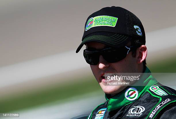 Austin Dillon driver of the American Ethanol Chevrolet stands on the grid during qualifying for the NASCAR Nationwide Series Sam's Town 300 at Las...