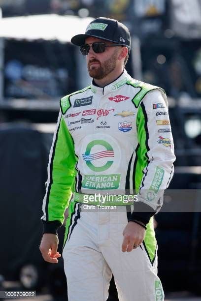 Austin Dillon driver of the American Ethanol e15 Chevrolet walks through the garage area during practice for the Monster Energy NASCAR Cup Series...