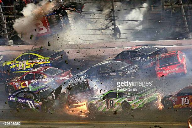 Austin Dillon, driver of the Bass Pro Shops Chevrolet, is involved in an on-track incident following the checkered flag during the NASCAR Sprint Cup...