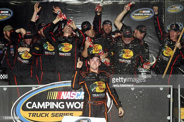 Austin Dillon, driver of the Bass Pro Shops/Tracker Chevrolet, celebrates after winning the 2011 Truck Series Championship in the NASCAR Camping...