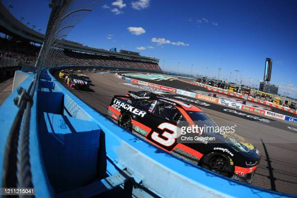 Austin Dillon, driver of the Bass Pro Shops/Tracker Off Road Chevrolet, leads a pack of cars during the NASCAR Cup Series FanShield 500 at Phoenix...