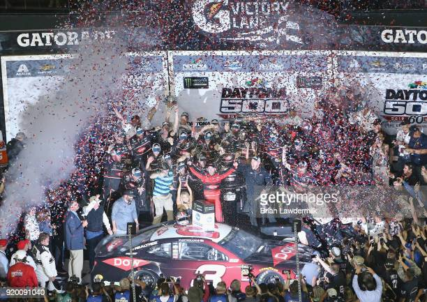 Austin Dillon driver of the DOW Chevrolet celebrates in Victory Lane after winning the Monster Energy NASCAR Cup Series 60th Annual Daytona 500 at...