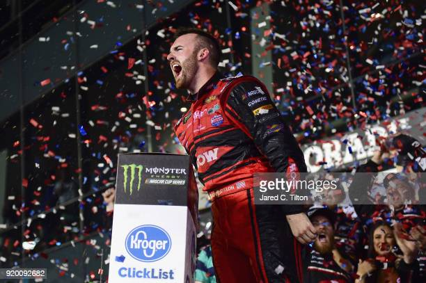 Austin Dillon, driver of the DOW Chevrolet, celebrates in Victory Lane after winning the Monster Energy NASCAR Cup Series 60th Annual Daytona 500 at...