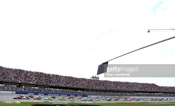 Austin Dillon driver of the Dow Chevrolet leads the field to the green flag during the Monster Energy NASCAR Cup Series GEICO 500 at Talladega...