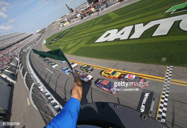 Austin Dillon driver of the DOW Chevrolet leads the field to the green flag to start the Monster Energy NASCAR Cup Series Advance Auto Parts Clash at...