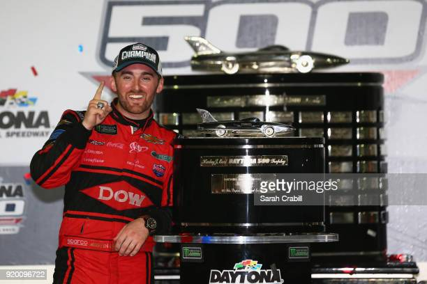 Austin Dillon, driver of the DOW Chevrolet, poses in Victory Lane after winning the Monster Energy NASCAR Cup Series 60th Annual Daytona 500 at...