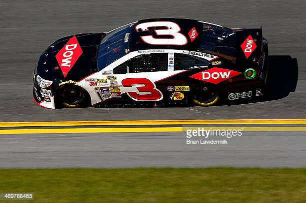 Austin Dillon driver of the DOW Chevrolet qualifies for the NASCAR Sprint Cup Series Daytona 500 at Daytona International Speedway on February 16...