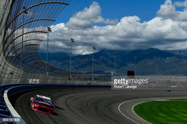 Austin Dillon driver of the Dow Coating Chevrolet drives during practice for the Monster Energy NASCAR Cup Series Auto Club 400 at Auto Club Speedway...