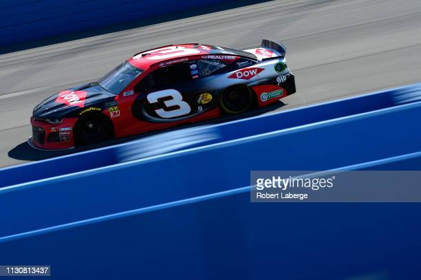 Austin Dillon driver of the Dow Coatings Chevrolet during qualifying for the Monster Energy NASCAR Cup Series Auto Club 400 at Auto Club Speedway on...