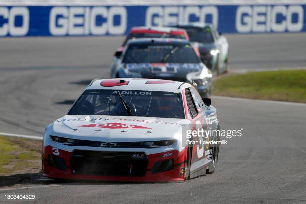 Austin Dillon, driver of the Dow Mobility Service Chevrolet, drives during the NASCAR Cup Series O'Reilly Auto Parts 253 at Daytona International...