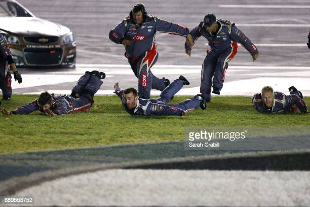 Austin Dillon, driver of the DOW Salutes Veterans Chevrolet, celebrates with his crew after winning the Monster Energy NASCAR Cup Series Coca-Cola...