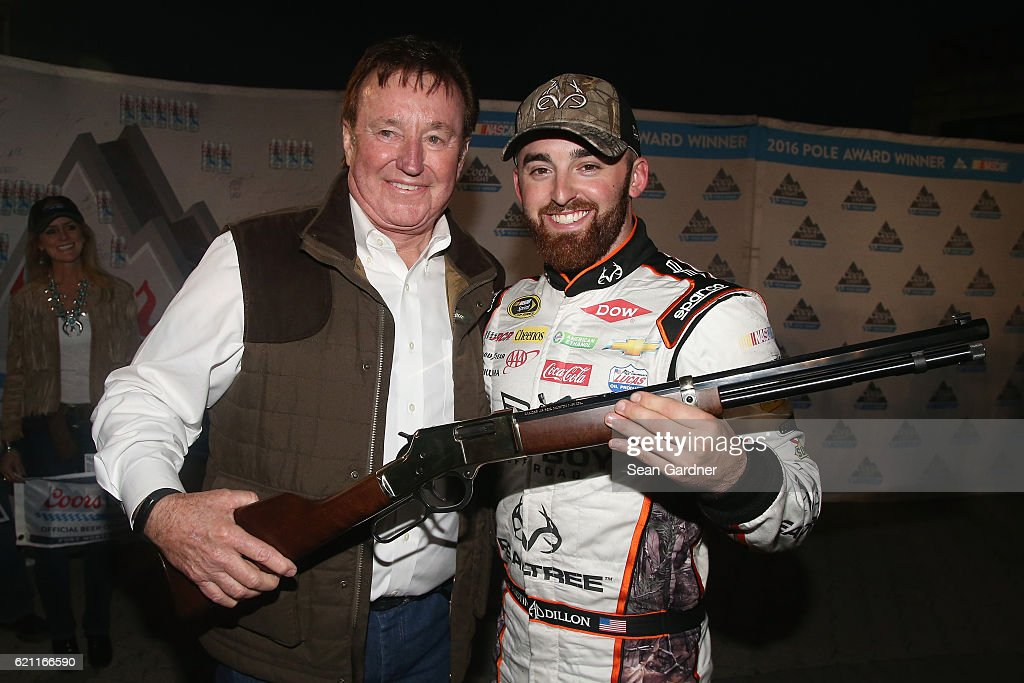 Austin Dillon, driver of the #3 Realtree/Bad Boy Chevrolet, and team owner Richard Childress, pose with the Texas Motor Speedway Pole Award after qualifying for the pole position during Salute to Veterans Qualifying Fueled by Texas Lottery for the NASCAR Sprint Cup Series AAA Texas 500 at Texas Motor Speedway on November 4, 2016 in Fort Worth, Texas.