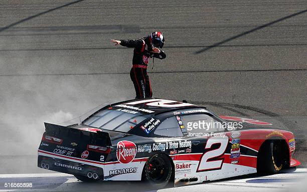 Austin Dillon driver of the Rheem Chevrolet celebrates after winning the NASCAR Xfinity Series TreatMyClotcom 300 at Auto Club Speedway on March 19...