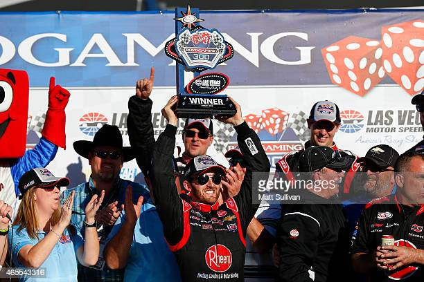 Austin Dillon, driver of the Rheem Chevrolet, celebrates in victory lane after winning the NASCAR XFINITY Series Boyd Gaming 300 at Las Vegas Motor...