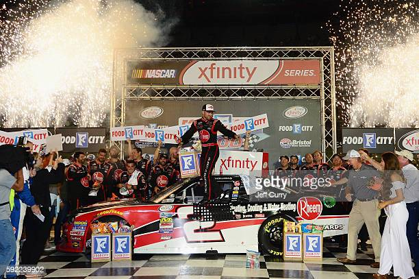 Austin Dillon driver of the Rheem Chevrolet celebrates in Victory Lane after winning the NASCAR XFINITY Series Food City 300 at Bristol Motor...