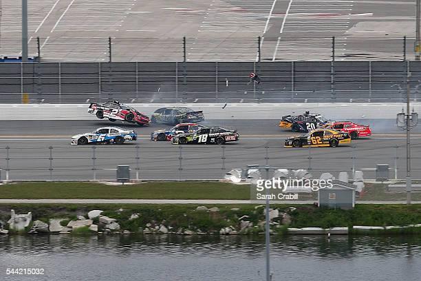 Austin Dillon, driver of the Rheem Chevrolet, Justin Marks, driver of the Katerra Chevrolet, and Erik Jones, driver of the DeWalt Flexvolt Toyota,...