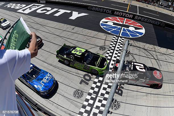Austin Dillon, driver of the Rheem Chevrolet, leads the starting grid during the NASCAR XFINITY Series Fitzgerald Glider Kits 300 Heat at Bristol...