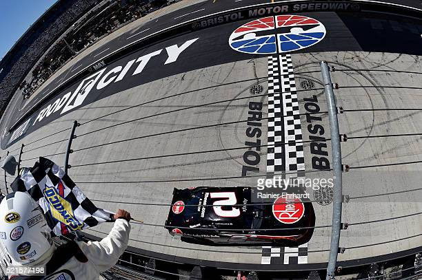 Austin Dillon, driver of the Rheem Chevrolet, takes the checkered flag to win the NASCAR XFINITY Series Fitzgerald Glider Kits 300 Heat at Bristol...