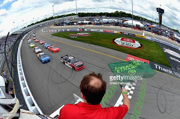 Austin Dillon driver of the Ruud Chevrolet leads the field to the green flag to start the NASCAR XFINITY Series ToyotaCare 250 Heat at Richmond...