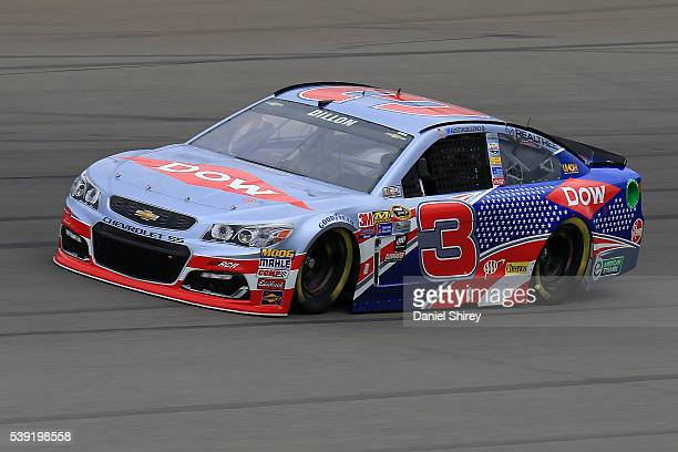 Austin Dillon drives of the Dow Salutes Veterans Chevrolet during practice for the NASCAR Sprint Cup Series FireKeepers Casino 400 at Michigan...