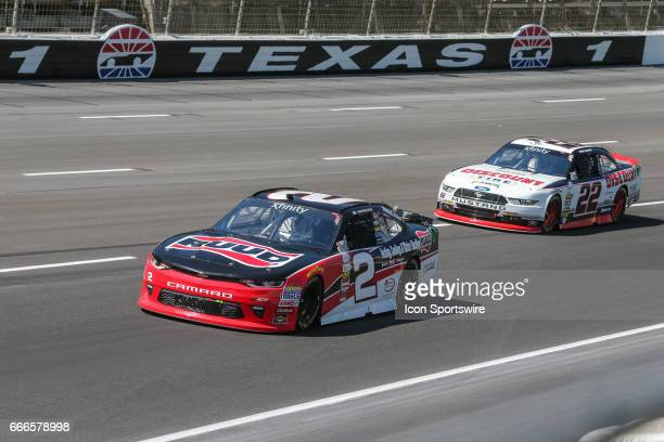 Austin Dillon leads Ryan Blaney in turn 1 during the My Bariatric Solutions NASCAR Xfinity Series race on April 8 2017 at Texas Motor Speedway in...