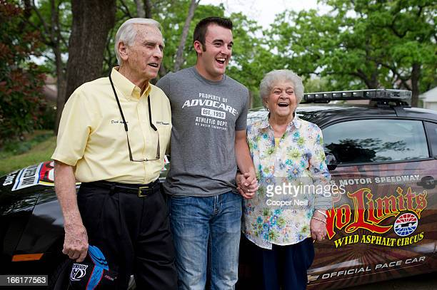 Austin Dillon meets with Dick and Marian Atkins as he delivers lunch to the Atkins home with Meals on Wheels on April 9 2013 in Arlington Texas