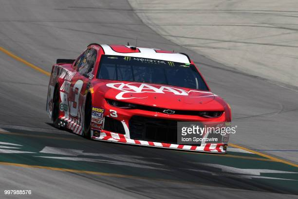 Austin Dillon Richard Childress Racing Chevrolet Camaro ZL1 drives across the finish line during practice for the Monster Energy NASCAR Cup Series...