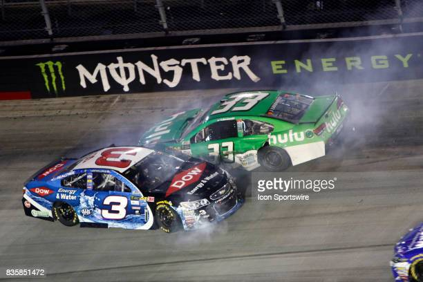Austin Dillon Richard Childress Racing Chevrolet SS and Jeffrey Earnhardt Circle Sport Little Joes hulu Chevrolet SS crash during the running of the...