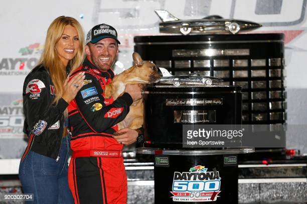 Austin Dillon Richard Childress Racing Dow Chevrolet Camaro and his wife Whitney celebrate winning the 60th running of the Daytona 500 on February 18...