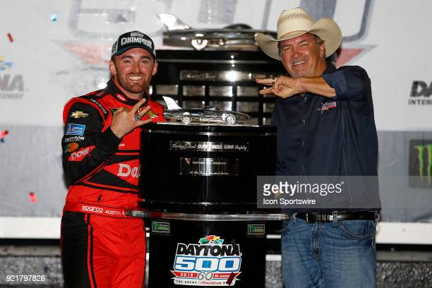 Austin Dillon Richard Childress Racing Dow Chevrolet Camaro and Mike Skinner celebrate winning the 60th running of the Daytona 500 on February 18 at...