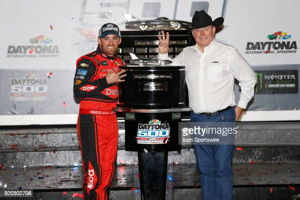 Austin Dillon Richard Childress Racing Dow Chevrolet Camaro and Richard Childress celebrate winning the 60th running of the Daytona 500 on February...
