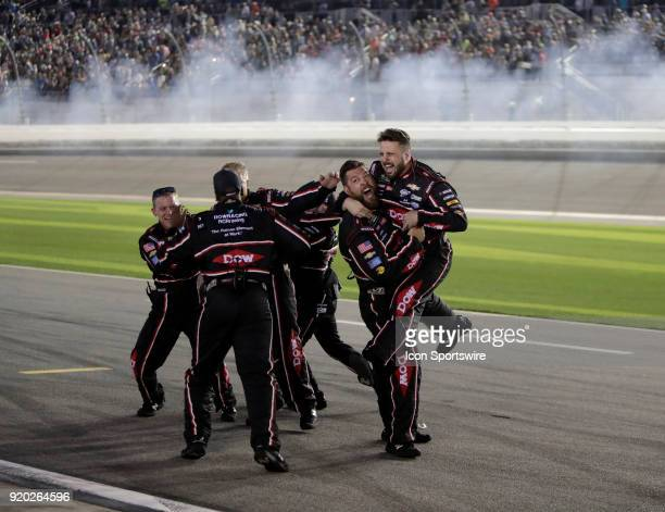 Austin Dillon Richard Childress Racing Dow Chevrolet Camaro crew celebrates during the running of the 60th Daytona 500 on Sunday February 182018 at...