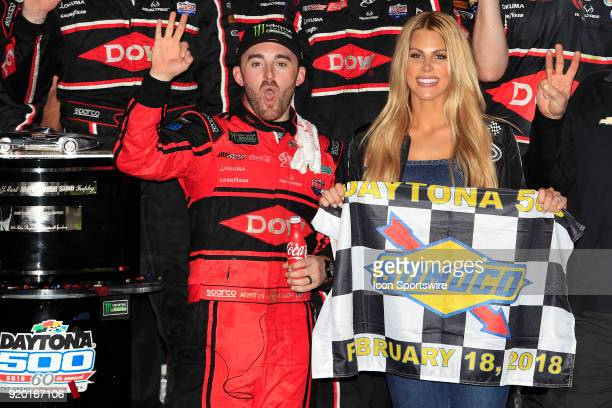 Austin Dillon Richard Childress Racing Dow Chevrolet Camaro celebrates in Victory Circle with his wife Whitney after winning the 60th running of the...