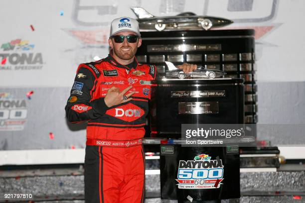 Austin Dillon Richard Childress Racing Dow Chevrolet Camaro celebrates winning the 60th running of the Daytona 500 on February 18 at the Daytona...