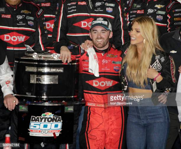 Austin Dillon Richard Childress Racing Dow Chevrolet Camaro with wife Whitney during the running of the 60th Daytona 500 on Sunday February 182018 at...
