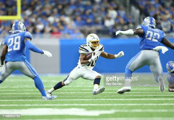 Austin Ekeler of the Los Angeles Chargers runs the ball in the third quarter against the Detroit Lions at Ford Field on September 15 2019 in Detroit...