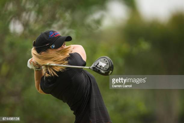 Austin Ernst of the United States plays a tee shot at the second hole during the second round of the Volunteers of America North Texas Shootout at...