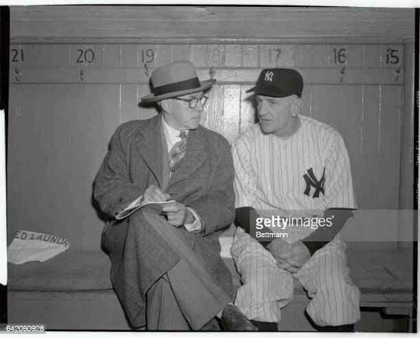 Austin F Cross of the Ottawa Evening Citizen gets an exclusive interview with manager Casey Stengle of the Yankees before the start of the 3rd game...