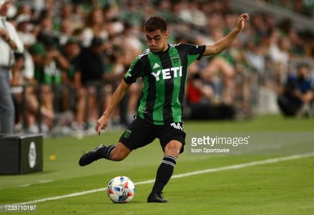 Austin FC defender Hector Jimenez kicks a cross during MLS game between the Columbus Crew SC and Austin FC on June 27, 2021 at Q2 Stadium in Austin,...