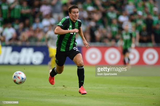 Austin FC defender Matt Besler chases down a loose ball during MLS game between the Columbus Crew SC and Austin FC on June 27, 2021 at Q2 Stadium in...