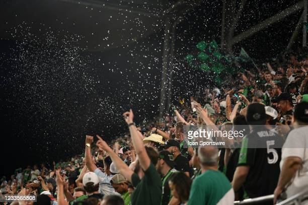 Austin FC fans start throwing beer and water to protest a foul during MLS game between the San Jose Earthquakes and Austin FC on June 19, 2021 at Q2...